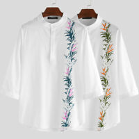 Men's Short Sleeve Linen Floral Casual Loose Fit Henley Blouse Tops Tee Summer