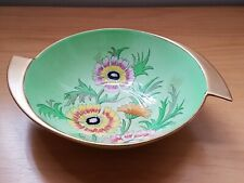 "CARLTON WARE ART DECO ""NEW ANEMONE"" PATTERN 1937 GREEN FRUIT BOWL 11 INCHES WIDE"