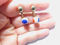 Red White Blue Bead Dangle Clip On Earrings Vintage