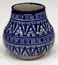 ANTIQUE Blue & White MOROCCAN Tunisia Morocco SAFI Faience Art Pottery Jug Vase