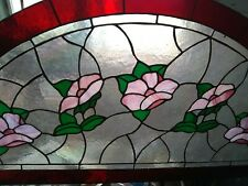 """Large, Vintage, Stained Glass Window 44-1/4"""" W x 21"""" H Flowers"""
