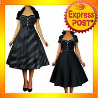 RK30 Black Polka Dot 50s Rockabilly Swing Dress Bolero Pin Up Retro Flared Plus