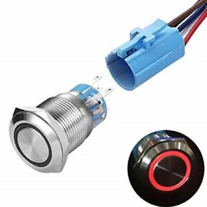 22mm Stainless Steel Momentary Illuminated Push Button Switch -IP 67-24 VDC LED