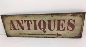 """Antiques Nostalgic Reproduction Country Metal Sign 17 3/4"""" X5 1/2"""" Plaque Hanger"""