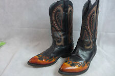 Mens Cowboy Boots Laredo Lea Vamp Fox Embroidered 9.5 EW Pre Owned Veiw Pictures