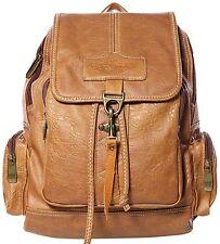 Coofit Women's Leather Backpack Purse Shoulders Bag Travel Bag Daypack Camel