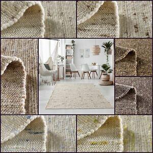 Moderner Landhausteppich Handweb Teppich Oslo aus Schurwolle Natur Pur