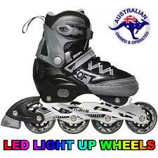 Black Kids Adjustable Roller Blade Rollerblades Inline Skates LED Wheel EU 31-34