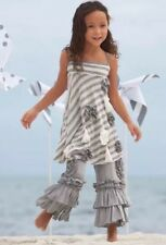 Chasing Fireflies 2 Pc Outfit Size 12 Pixie Girl Gray White Stripe Ruffle Pants