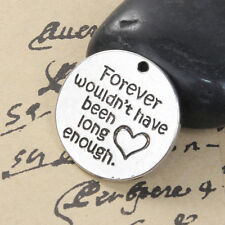 3 ROUND INSCRIBED FOREVER LOVE MEMORIAL 25mm CHARM/PENDANT~KEY RING ~ UK (3G)