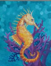 Gold Sea Horse Purple Coral Original Acrylic Painting RAMfish Artist Southern CA