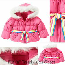 NWT Girls Size 2T 3T 2-3 Years Crazy 8 Pink Zip-Front Hooded Puffer Jacket Coat