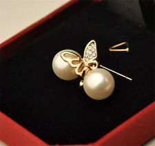 Showy Crystal Pearl Golden Butterfly Lady Gift Jewelry Fine Ear Stud Earrings