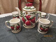 K 5 PC SET PORCELAIN WHITE RED APPLE TEA/COFFEE POT & CUPS