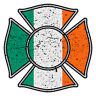 "Irish Flag Reflective 2"" Distressed Maltese Cross Firefighter Decal Sticker"