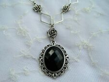 VICTORIAN STYLE- DIAMOND ROSE - BLACK ACRYLIC SILVER PLATED PENDANT NECKLACE DR