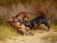 PAINTING ANIMAL DACHSHUND DOG FOX REICHERT HUNTING ART PRINT LAH380A