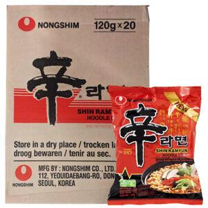 Nong shim Shin Ramyun - Spicy Instant Noodles Halal Ramen (Pack of 20)