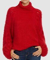 $798 Eleven Six Women Red Turtleneck Blouson Long-Sleeve Alpaca Knit Sweater M/L