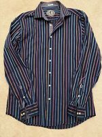 BUGATCHI  Men's Large Shaped Fit  Striped Long Sleeve Button Shirt
