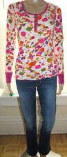 Misses Small DELIA'S Bright Pink Orange Green Purple Dots Thermal Cotton L/S Top