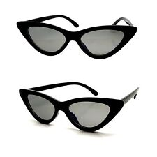 Lunettes Soleil Femme Cat eyes Œil de chat Pointu Noir ALL BLACK Fines  Papillon 825bb7f64025