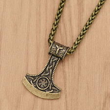 Retro Viking Axe Amulet Talisman Necklace Gold Chain Pendant Charms Men Jewelry