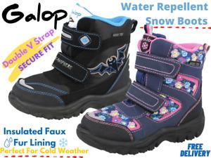 Boys Girls Infant Snow Boots Water Resistant Wellingtons Fleece Winter Boot