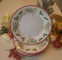 New Royal Norfolk Holiday Christmas Dinner Plates Beautiful Mistletoe