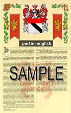 PARTIN Armorial Name History - Coat of Arms - Family Crest GIFT! 11x17
