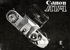 Original Instruction book for CANON  AV-1 35mm Film SLR