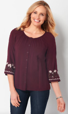 CJ Banks Embroidered Border Blouse Garnet Shine Women's Plus Size 1X