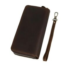 Vintage Dual Zipper Men Clutch Wallet Genuine Leather ID Cards Phone Holder Long