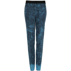 Emilio Pucci Teal Blue Black Lace Overlay Slim-Fitting Trousers Pants IT42 UK10