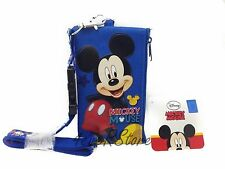 New Disney Blue Mickey Lanyard ID Ticket iPhone Key Chain Badge Holder Wallet