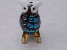 OWL FIGURINE@Wise Bird@Coloured Glass Tawny OWL Ornament@Collectable Gift Figure