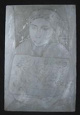 Original Irving Amen Etching Printing Plates Woman of Taxco Artist & Bird Flower