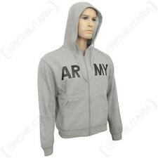 Grey US Army Gym Hoodie - American Jumper Top Sweater Military Soldier Gray New