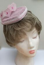 Heart Shaped Sinamay Fascinator in Pastel Pink