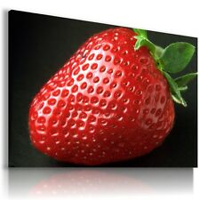 STRAWBERRIES FRUITS FOOD KITCHEN Canvas Wall Art Picture Large F43  X MATAGA