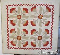 Original 4 Block! c 1860s Applique RED Cheddar Antique QUILT stuffed berries
