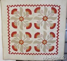 Original 4 Block! c 1860s Applique Red Cheddar Antique Quilt stuffed berries
