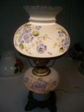 Vintage Blue Satin painted flowers Hurricane Lamp