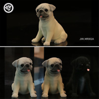 JXK Cute Pug Dog Pet Figure Canidae Fluff Puppy Animal Model Collector Toy Gift