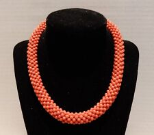 ANTIQUE CORAL BEAD NECKLACE - 16 1/2 INCHES - 62 GRAMS - 13 MM WIDE - FREE SHIP