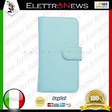 Custodia cover apertura a libro per Samsung Galaxy S5 I9600 G900 celeste