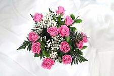 FRESH Real flowers Delivered 12 Pink ROSES FREE UK Next Day Delivery