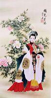 HANDPAINTED ORIGINAL ASIAN ART CHINESE FIGURE WATERCOLOR PAINTING-Beauty&Peony