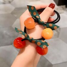 Fashion Women HairRope Cherry Elastic Bow Rubber Band Ponytail Hair Accessories