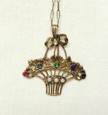 Vintage Victorian Art Deco Pendant with Necklace vase of flowers pendant